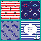 Collection with seamless patterns and card in marine style Royalty Free Stock Photo