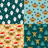 Collection of seamless patterns with dogs. Vector illustration. Collection of seamless patterns with dogs. Seamless patterns with the symbol of 2018. Vector vector illustration