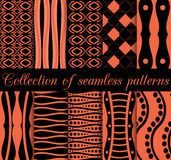 Collection of seamless patterns. Geometric figures in the background. Orange and black. Vector illustration Royalty Free Stock Photos