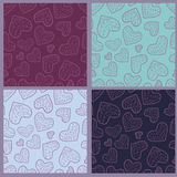 Collection of seamless patterns with hearts. Collection of romantic seamless patterns with hearts. Vector illustration Stock Photo