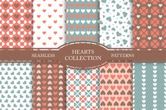 Collection of seamless patterns with hearts in retro colors. Vintage cute backgrounds.  Royalty Free Stock Photography