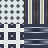 A collection of 4 seamless patterns, made in modern colors. Stock Image