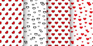 Collection of 4 seamless patterns for St. Valentine's Day. Seamless patterns with hearts. Collection of 4 patterns for St. Valentine's Day. Romantic Stock Photo