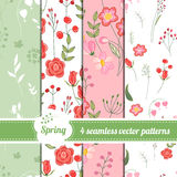 Collection of seamless patterns with stylized cute roses and wild flowers. Stock Photos