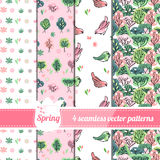 Collection of seamless patterns with stylized cute trees and birds. Stock Photos
