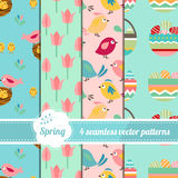 Collection of seamless patterns with stylized cute trees,eggs and birds. Royalty Free Stock Photos