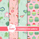 Collection of seamless patterns with stylized cute trees,eggs and birds Stock Photos