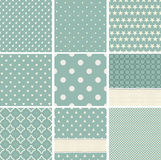 Collection of seamless polka dots pattern. Geometric seamless patterns: stars, polka dots, circles, squares, grid, vector illustration Stock Photo