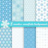 Collection of seamless snowflake backgrounds Stock Image