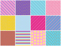 Collection of seamless textures. Simple elements. Bright backgrounds. Royalty Free Stock Images