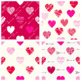 Collection of seamless valentine patterns with hearts and arrows Stock Photography