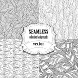 Collection of seamless vector backgrounds with leafs Royalty Free Stock Image