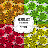 Collection of Seamless vector fruit pattern Royalty Free Stock Photos