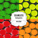 Collection of Seamless vector fruit pattern Stock Photo