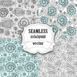 Collection of seamless vector sea background Royalty Free Stock Photo