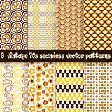 Collection seamless vintage 70s backgrounds. Collection of eight seamless vintage 70s backgrounds stock illustration