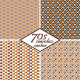 Collection seamless vintage 70s backgrounds. Collection of four seamless vintage 70s backgrounds Stock Photo