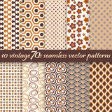 Collection seamless vintage 70s backgrounds Stock Image
