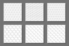 Collection of seamless white textures - 3d patterns. Abstract geometric backgrounds.  Stock Images