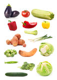 Collection of seasonal vegetable images isolated on white backgr Royalty Free Stock Photography