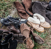 Collection of second hand female shoes and boots to sell Stock Photos