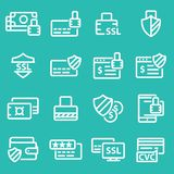 Collection of secure payment thin line icons. Collection of secure payment thin line white icons Royalty Free Stock Photography