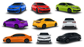 Collection Sedan Vehicles New Car Colorful  on white background. Stock Images