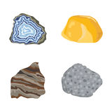 Collection of semi precious gemstones vector stones  Royalty Free Stock Image