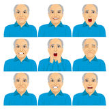 Collection of senior adult bald man making six different face expressions Stock Photography