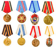 Collection Set Ð¡ollage Of Russian Soviet Medals For Participati Royalty Free Stock Images