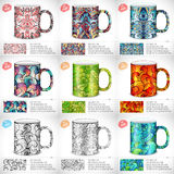 Collection set of abstract colorful art design for print on a cup. Vector art traditional, Islam, arabic, indian Royalty Free Stock Image