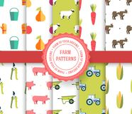 Collection set of agricultural seamless pattern. Farm, instrument, fruits, tractor, animals, tools with label logo concept. Vector. Abstract template for vector illustration