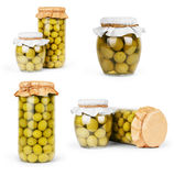 Collection set of assorted pickled olives and olive tree branch Royalty Free Stock Photo