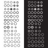 A collection/set of 63 basic shapes. Black and white variations. Monochrome design Stock Photos
