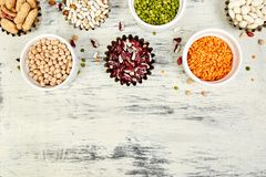 Collection set of beans and legumes. Bowls of various lentils stock photo