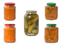 collection set of canned vegetables in glass jars isolated on wh Royalty Free Stock Photos