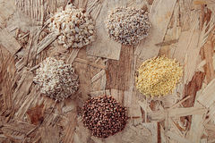 Collection Set of Cereal Grains Millet, Oat, Corn,Rice Stock Photography