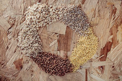 Collection Set of Cereal Grains Millet, Oat, Corn,Rice Royalty Free Stock Images