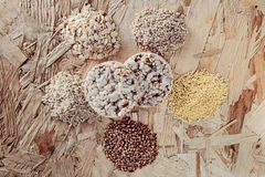 Collection Set of Cereal Grains Millet, Oat, Corn,Rice Stock Photo