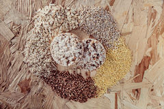Collection Set of Cereal Grains Millet, Oat, Corn,Rice Royalty Free Stock Photo