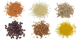 Collection Set of Cereal Grains and Seeds Heap Royalty Free Stock Image
