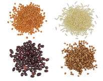 Collection Set of Cereal Grains and Seeds Heaps Royalty Free Stock Image