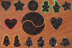 Collection set coffee beans Royalty Free Stock Image
