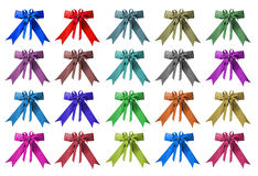 Collection set of colorful ribbon bows isolation. Collection set of colorful ribbon bows Stock Photos