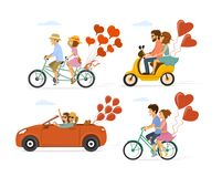 Collection set of couples in love on a date on the roadtrip, having ride with bike, tandem bicycle, scooter and car. With festive balloons Stock Images