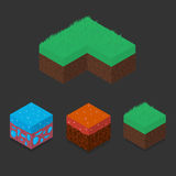 Collection set of 3D Isometric Landscape Cubes. Ground Grass, Water, Lava Element. Icon Can be used for Game, Web, Mobile App, Infographics. Game asset Stock Image
