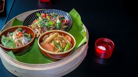 A collection set of different Asian menu dishes - Delicious Asian food displayed stock photography