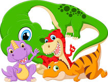 Collection set dinosaur with baby Stock Image