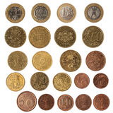 Collection set of euro coins Royalty Free Stock Image