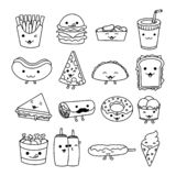 Collection Set of Fast Food, Junk Food, Street Food with cute kawaii face expressions stock illustration